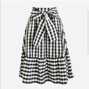 NWT J.Crew Gingham Big Bow Midi Skirt